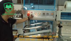 Máy cắt hơ màng co tự động-Máy cắt dán co màng, máy cắt hơ màng 2 in 1
